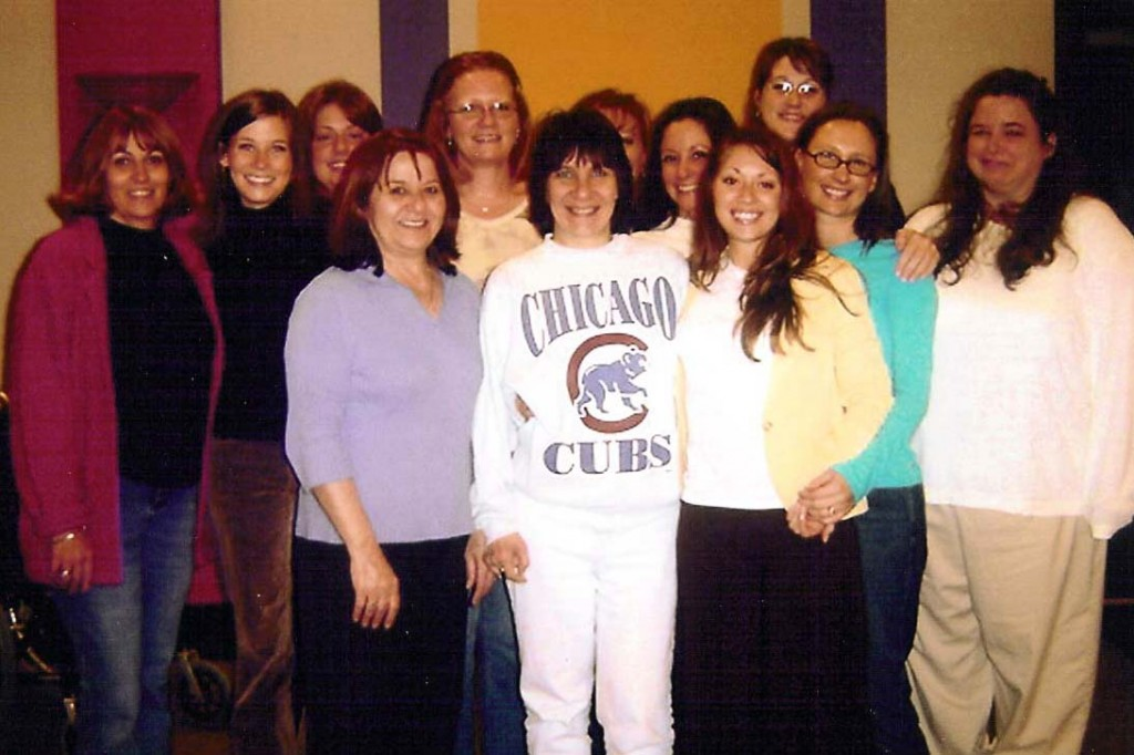 Of course, the one night I go casual with my favorite Cubs sweatshirt, they decide to take a group photo! (2006)
