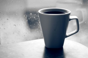 Hot Coffee on a rainy day